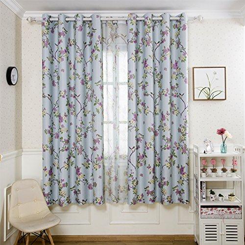 Panel Vintage Iron (2Panels Vintage Printed Curtains Luckybird Flower Patterns Room Darkening Window Drape Panels for Bedroom, Metal Grommets Top, 1Pair(42