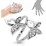 Multi Gem Paved Butterfly Adjustable Brass Mid-ring/toe Ring HO2929