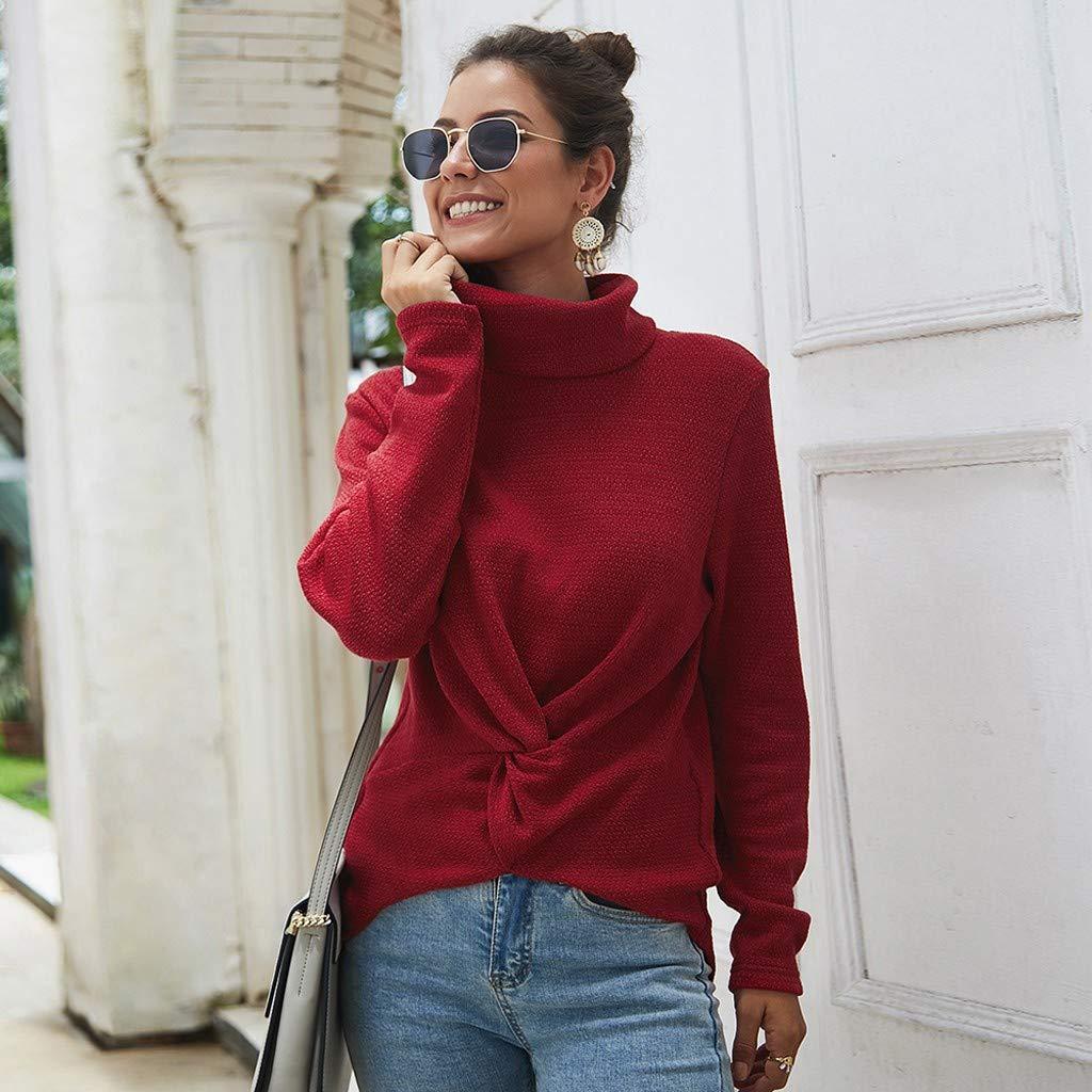 Amazon.com: Juesi suéter de mujer de cuello alto de manga ...