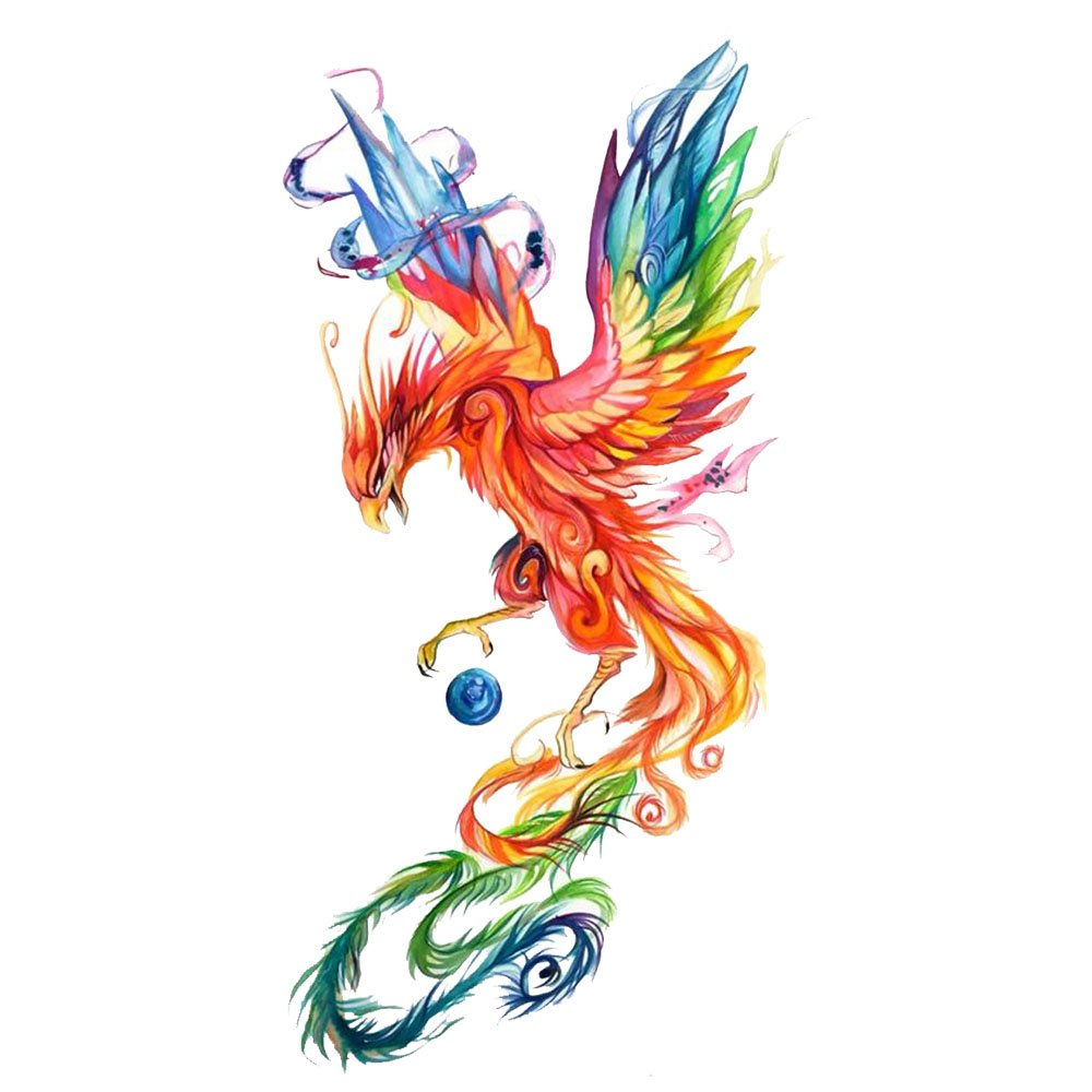WYUEN 5 Sheets Watercolor Phoenix Temporary Tattoo Fake Tattoo Sticker for Women Men Hand Body Art 9.8X6cm