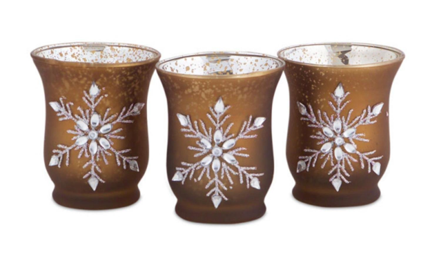 Jeweled Snowflake Mocha Brown Glass Tea Light Candle Holders Set of 3