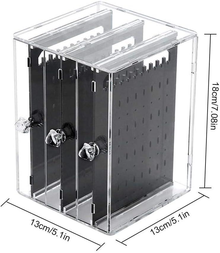 Transparent zebroau Bo/îte /à Bijoux Boucle doreille Transparent Porte Rangement de Bijoux Support Organisateur Pr/ésentoir Anti-poussi/ère avec Compartiment