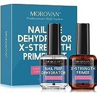 Morovan Nail Prep Dehydrator and Nail Primer X-strength, No Burn Non Acid Protein Bond Primer for Acrylic Powder and UV…