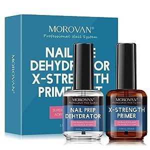 Morovan Nail Prep Dehydrator and Nail Primer X-strength, No Burn Non Acid Protein Bond Primer for Acrylic Powder and UV Gel Nail Polish Poly Gel Hard Gel 0.5oz