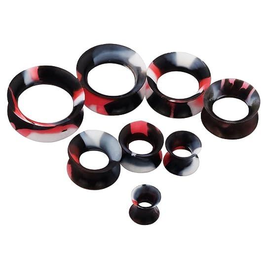D&M Jewelry 14 Piezas de Colorida Silicona 2G-3/4(6-20mm) Hueco Expansor de Túnel de Colores Mezclados Ear Plug Pendientes de Oreja Piercing 20mm: ...