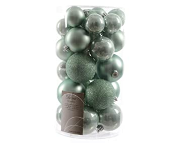 30 luxury shatterproof christmas baubles tree decorations eucalyptus mint green