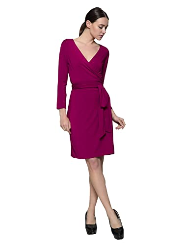 Maggie Tang V Neck Soft long Sleeve Stretch Casual Party Belt Full Wrap Dress