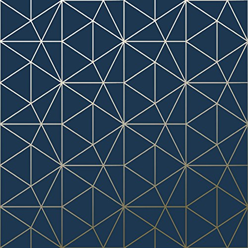 Metro Prism Geometric Triangle Wallpaper - Navy Blue and Gold - WOW008 World of Wallpaper