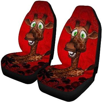 Llzqj Daa Lustige Karikatur Giraffen Autositzbezüge Für Front Von 2 Fahrzeugsitz Schutz Auto Matte Gepasst Das Meiste Auto Lkw Suv Van Auto