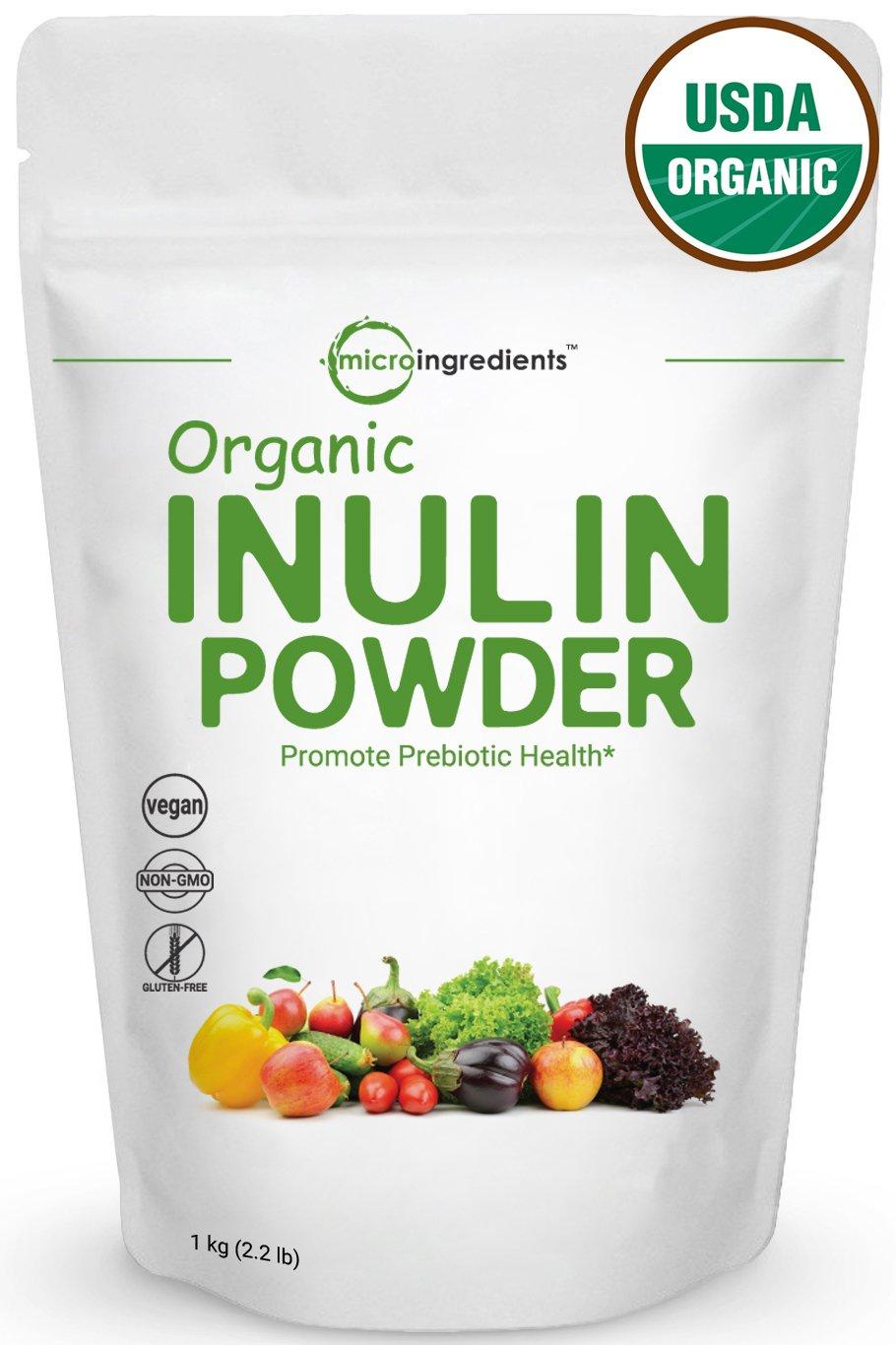Pure Organic Inulin Fos Powder (Jerusalem Artichoke) Prebiotic Intestinal Support, Colon & Gut Health (1 Kilogram). Non-Irradiated, Non-Contaminated, Non-GMO and Vegan Friendly.