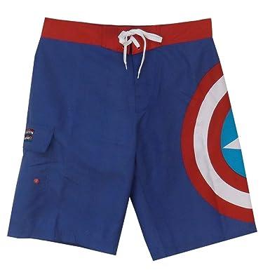 4da9a7e43eb49 Marvel Captain America Logo Comics Adult Board Shorts Swimwear - Blue -:  Amazon.co.uk: Clothing