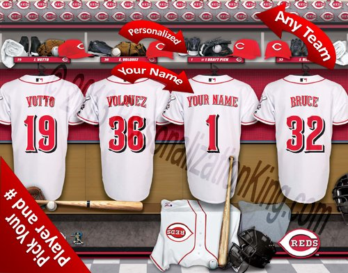 (Cincinnati Reds Team Locker Room Clubhouse Personlized Officially Licensed MLB Photo Print)