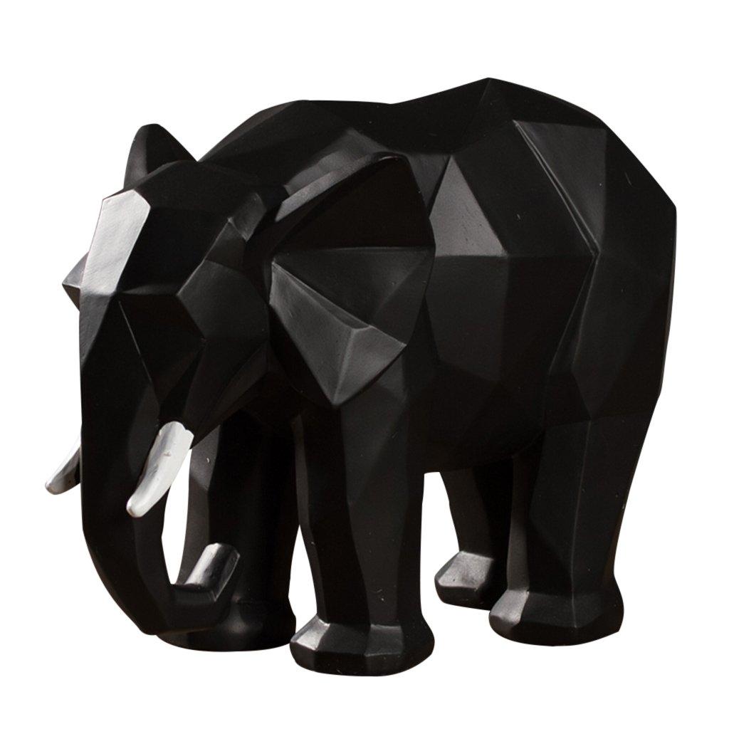 YYHSND Nordic Creative Geometric Origami Animal Elephant Ornaments Crafts Jewelry (Color : Black)