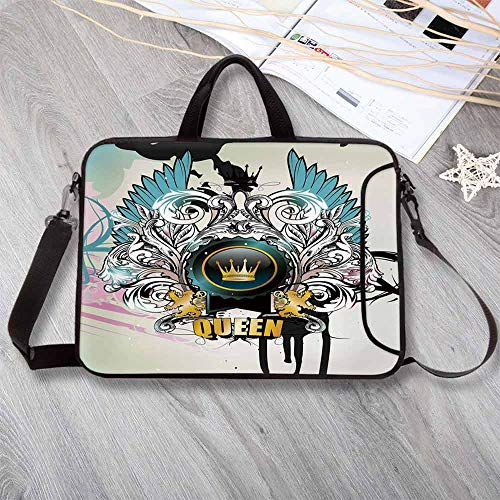 """Queen Wear-Resisting Neoprene Laptop Bag,Artistic Design Arms Shield with Crown Wings and Victorian Floral Elements Imperial Laptop Bag for Laptop Tablet PC,8.7""""L x 11""""W x 0.8""""H"""
