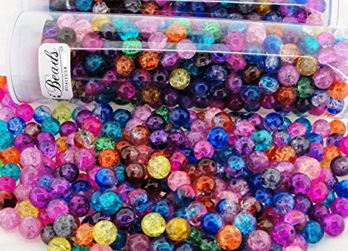 Tube of Approx 300pcs Mix Crackle Glass Round Beads 8mm Mixed - Glass Beautiful Crackle