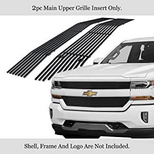 APS Compatible with 2019-2020 Chevy Silverado 1500 RST LT LT Trail Boss Main Upper Stainless Steel Black 8x6 Horizontal Billet Grille Insert C65655J