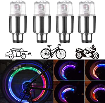 2//4PCS Waterproof Neon LED Bike Car Motorcycle Wheel Tire Cap Spoke Lights Lamp
