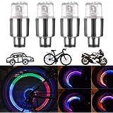 CJRSLRB 4Pcs Car Tire Valve Lights, Bike LED Wheel Light, Waterproof LED Valve Cap Lamp for Car Bike Motorcycle…