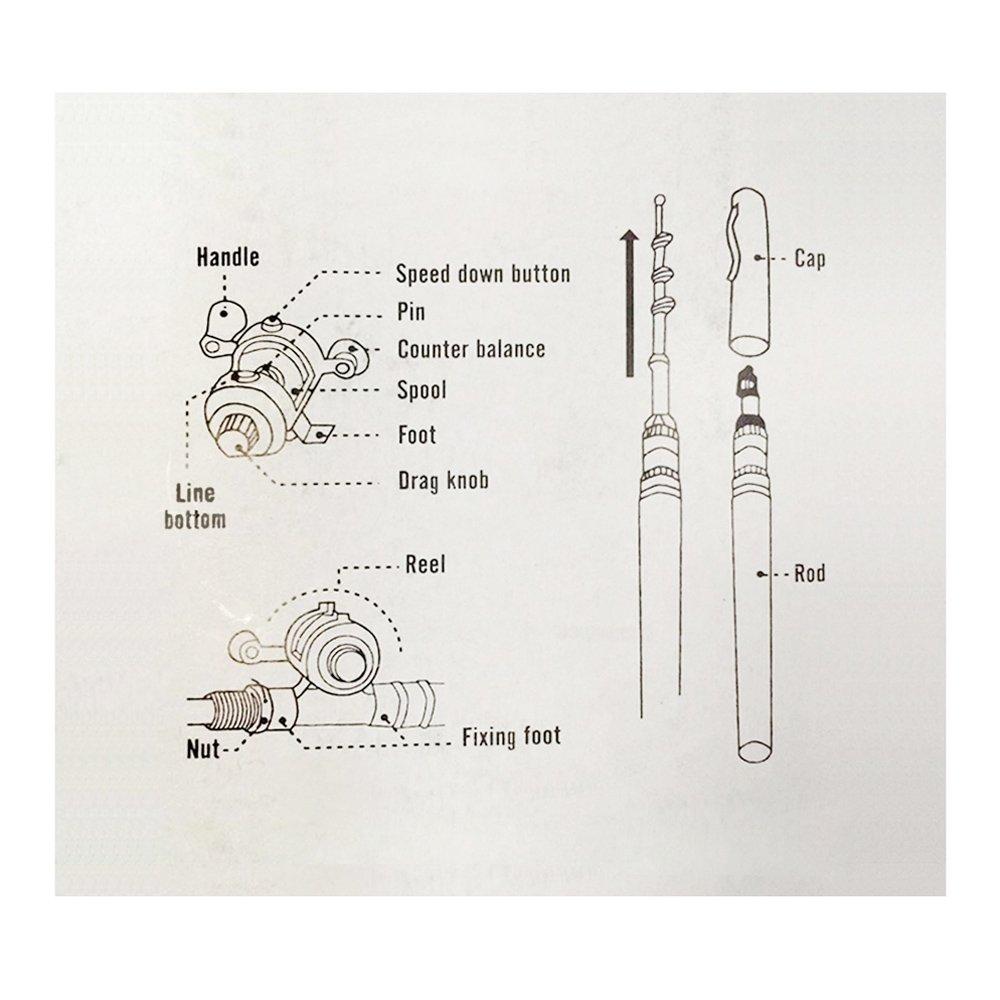 Bobine en Alliage daluminium Ligne de P/êche//Souple//Leurre Jig Hooks Stylo T/élescopique de Poche Portable Canne /à P/êche P/ôle Lixada Reel Fishing Rod Combo Set Mini