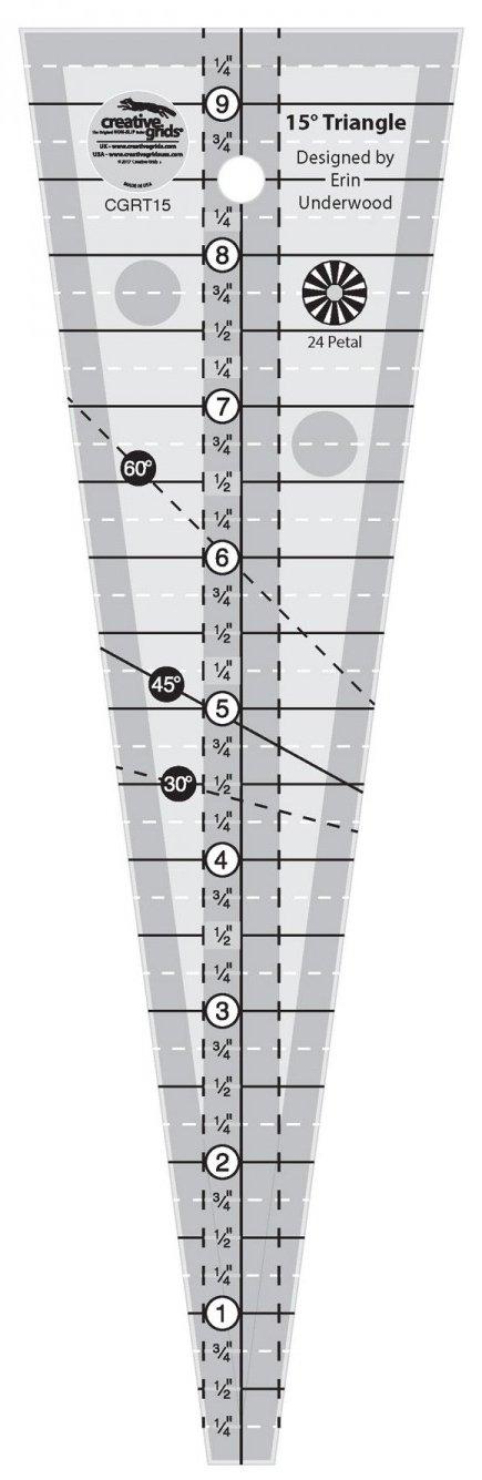 Creative Grids 15 Degree Triangle Ruler - CGRT15