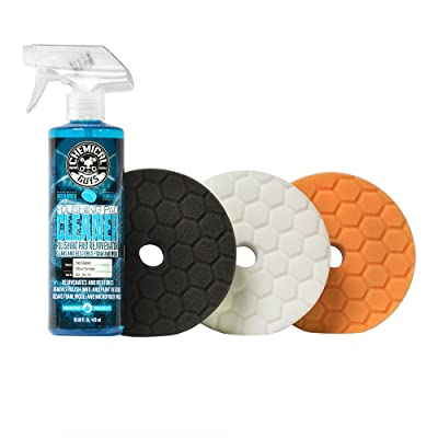 Chemical Guys BUFX702 Hex-Logic Quantum Buffing Pad Sampler Kit, 16 fl. oz (4 Items) (5.5 Inch Fits 5 Inch Backing Plate): Automotive