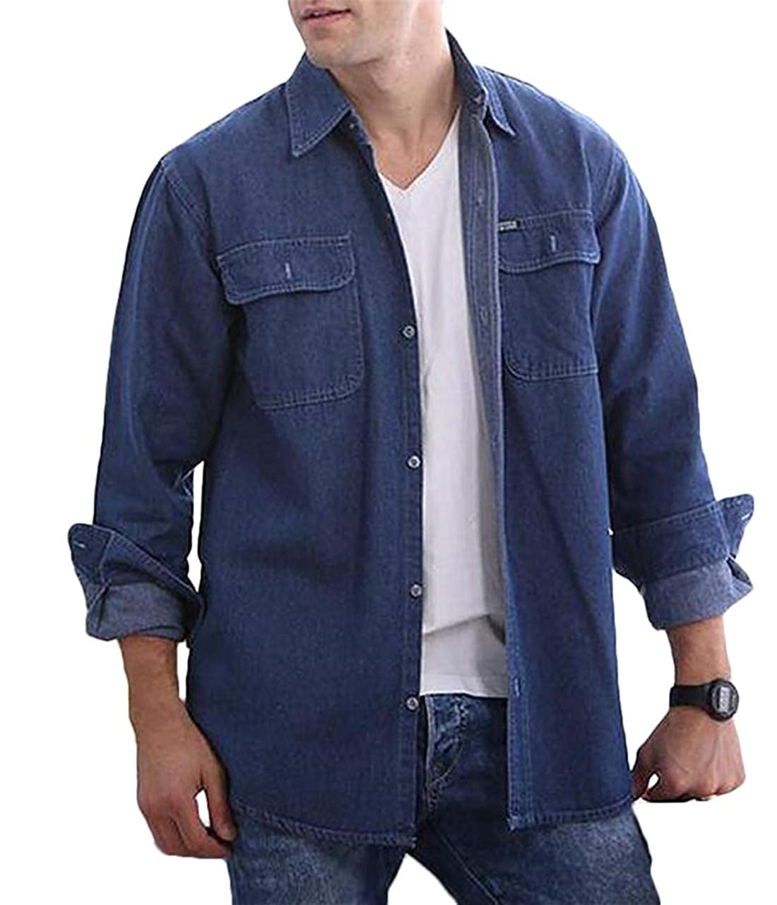UUYUK Men Casual Long Sleeve Button Down Slim Fit Pockets Denim Shirt