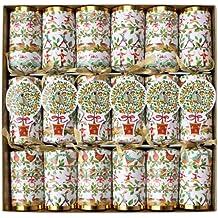 Caspari 12 Days Celebration Crackers with Luxury Embellishments, Box of 6
