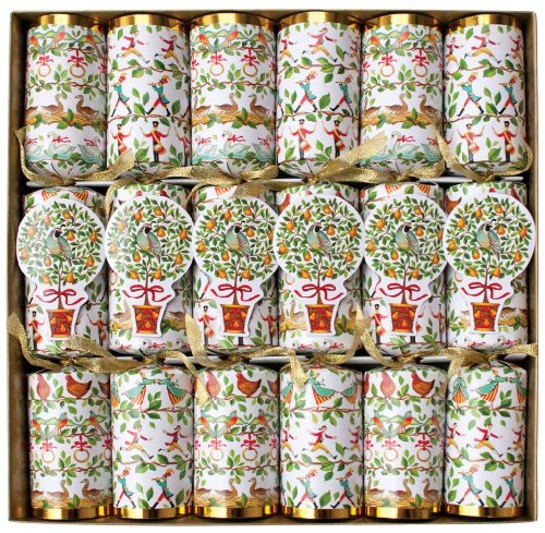 Caspari 12 Days Celebration Crackers with Luxury Embellishments, Box of 6