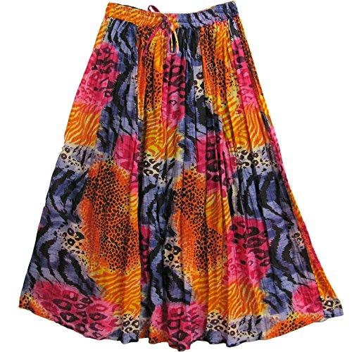 Multicolor Animal Print Indian Cotton Crinkle Broomstick Bohemian Long Skirt (Crinkle Gauze Skirt)