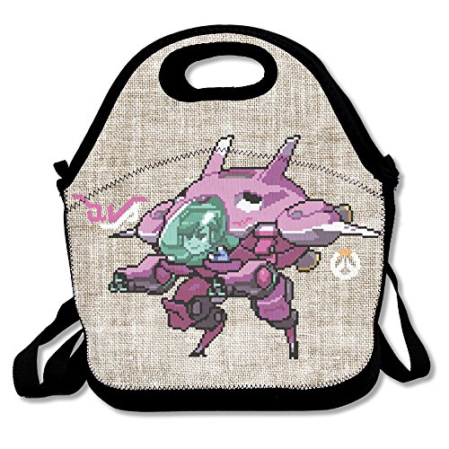 Copdsa Video Game Overwatch Dva Mech Insulated Personalized Tote Lunch Food Bag Black
