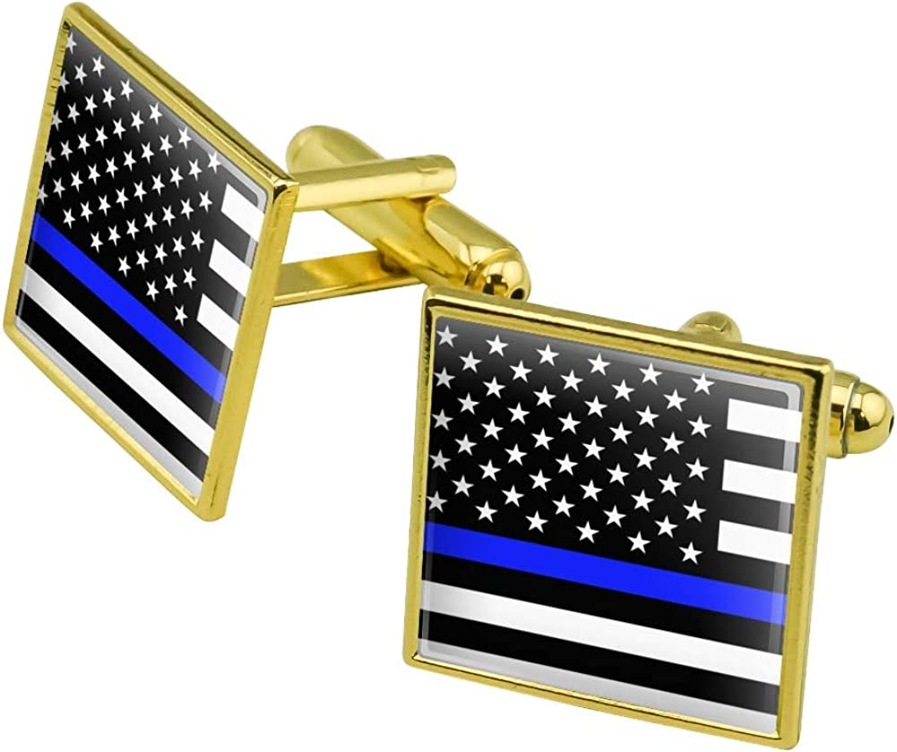 Graphics and More Thin Blue Line American Flag Square Cufflink Set - Silver or Gold