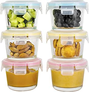 Doonmi - Glass Baby Food Storage Containers (4.4oz, 6-Pack), Small Containers with Airtight BPA - Free Locking Lids, Microwave, Dishwasher, Freezer Safe, Perfect for Infant & Babies.