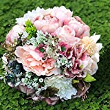 Abbie Home Peony Rose Dahlia Bridal Wedding Bouquet Bride Holding Flowers Confession Bouquet