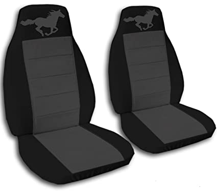 2005 2006 2007 Ford Mustang Seat Covers Black And Charcoal With A Horse Fits Convertible Coupe