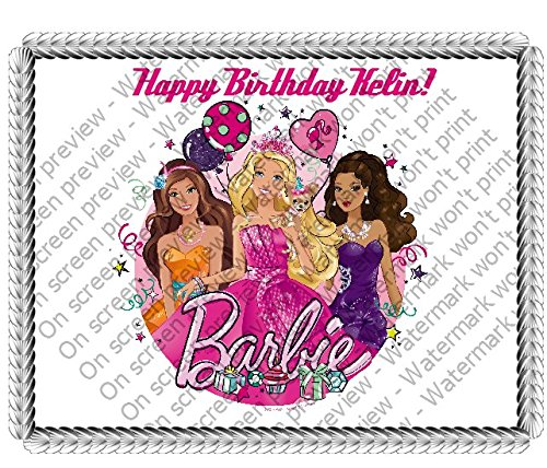 Amazon 1 4 Sheet Barbie Party Princess Edible Image Cake Topper Grocery Gourmet Food