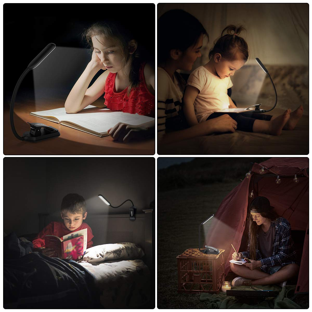 9 LEDs Clip on Reading Light Touch Control Stepless Dimming Desk Lamp with 3 Color Modes USB Rechargeable Eye-Care Night Light for Kids Adults Reading in Bed OMERIL Book Light