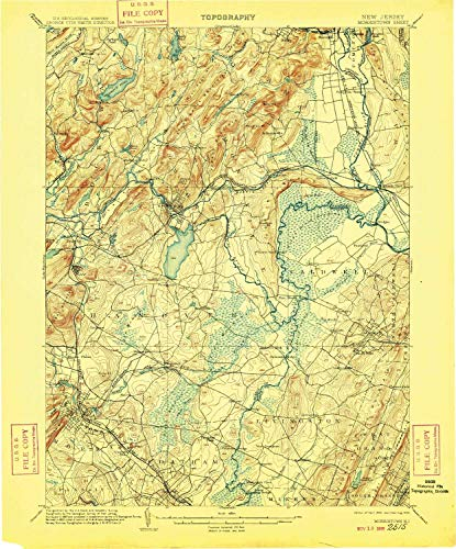 YellowMaps Morristown NJ topo map, 1:62500 Scale, 15 X 15 Minute, Historical, 1906, Updated 1909, 20 x 16.6 in - Paper -