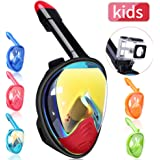 QingSong Full Face Snorkel Mask, Snorkeling Mask with Detachable Camera Mount, 180 Degree Panoramic View Anti-Fog Anti-Leak Snorkel Set for Kids Youth Adult