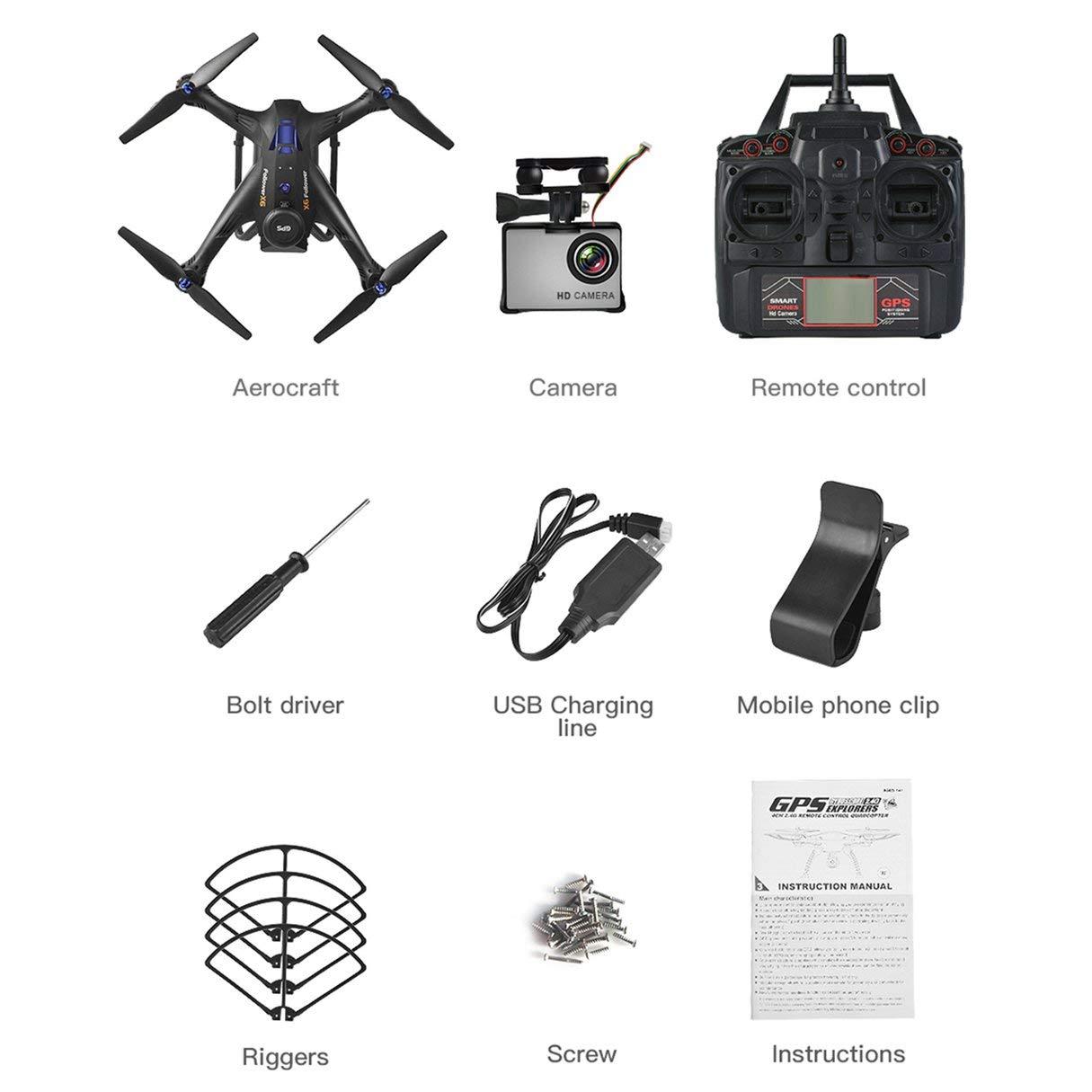 Wafalano RC Quadcopter, X183S RC Drone con cámara 1080P 5G Modo sin Cabeza Altitud Mantener una tecla Regresar Mini Control Remoto GPS Quadrocopter