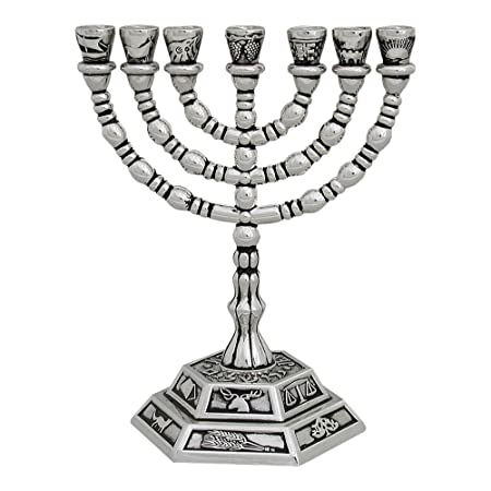 Seven Branch Menorah Silver Plated With The Symbols Of The Twelve