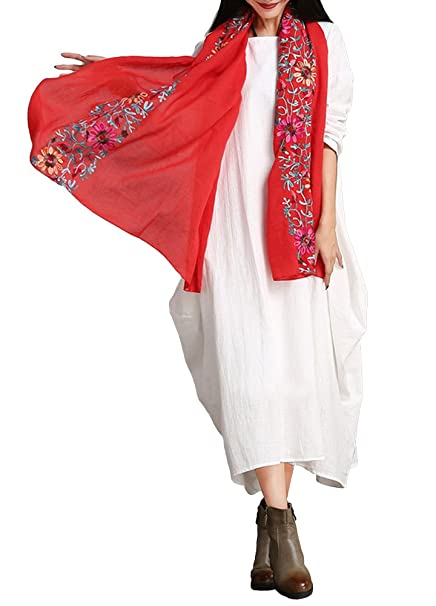Romacci Women Maxi Sleeveless Dress Plus Size Pockets Loose Swing Tank  Tunic Dress White/Red