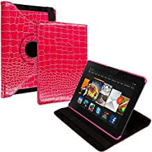 Cell Accessories For Less (TM) Pink Crocodile 360 Rotating Leather Pouch Case Cover Stand for Amazon Kindle Fire HDX 7 Bundle (Stylus & Micro Cleaning Cloth) - By TheTargetBuys