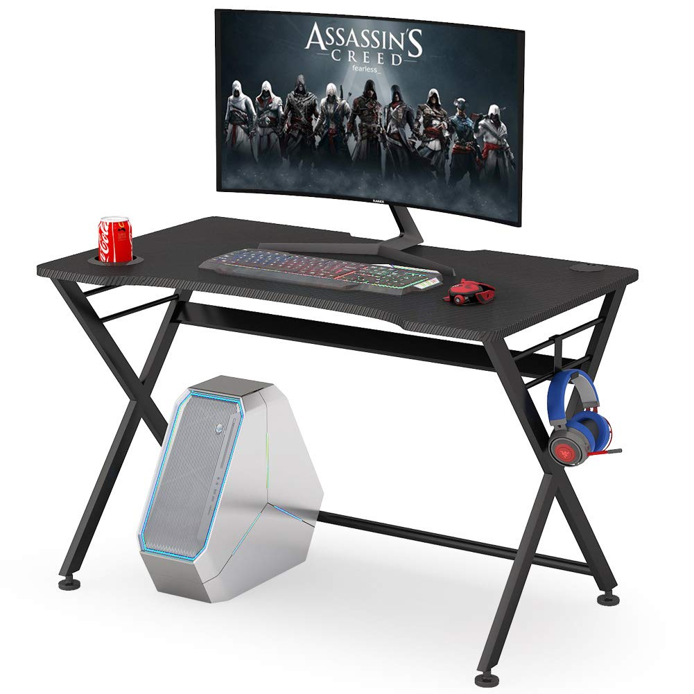 Tribesigns Computer Gaming Desk Gaming Pc Desk Table Ergonomic Professional Gamer Game Station X Shaped Steel Frame Home Office Desk With Cable Management Grommet Cup Holder Headphone Hook Buy Online In