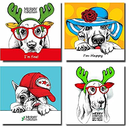Superior SpecialArt   Christmas Decorative Gift Creative Dogs Canvas Wall Art  Paintings Artwork For Kids Room Bedroom