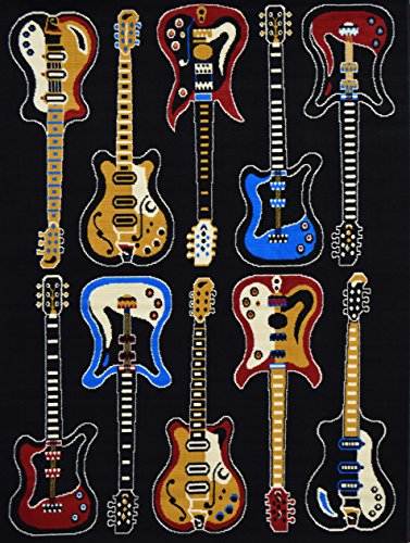 (Rugs 4 Less Collection Fun Musical Theme Guitar Contemporary Area Rug)