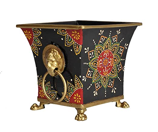 Lalhaveli Hand Painted Metal Planter Stand for Pots (Black, 5 x 5 x 4.5-inch)