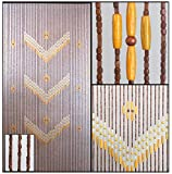 wooden bead door curtain - BeadedString Natural Wood Beaded Curtain-52 Strands-76 in (6.3 ft) High-Boho Door Beads-Bohemian Doorway Curtain-Victory