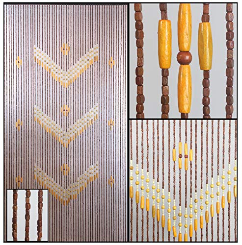BeadedString Natural Wood Beaded Curtain-52 Strands-76 in (6.3