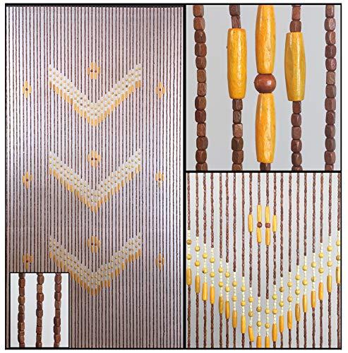 (BeadedString Natural Wood Beaded Curtain-52 Strands-76 in (6.3 ft) High-Boho Door Beads-Bohemian Doorway)