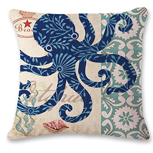 "oFloral Octopus Throw Pillow Cover Ocean Theme Cotton Linen Pillow Case Square Cushion Cover Home Sofa Couch Bedroom Living Room Decorative 18""X18"" Blue Green Yellow"